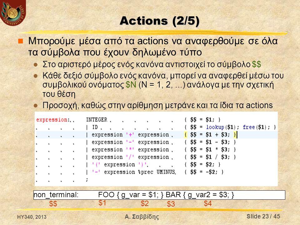 Actions (2/5) Μπορούμε μέσα από τα actions να αναφερθούμε σε όλα τα σύμβολα που έχουν δηλωμένο τύπο.