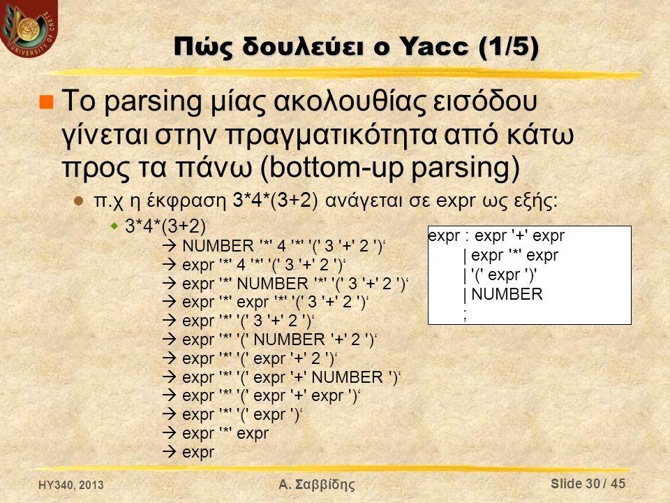 Πώς δουλεύει ο Yacc (1/5) Το parsing μίας ακολουθίας εισόδου γίνεται στην πραγματικότητα από κάτω προς τα πάνω (bottom-up parsing)