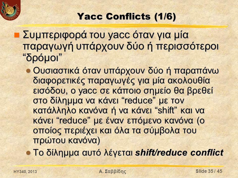 Yacc Conflicts (1/6) Συμπεριφορά του yacc όταν για μία παραγωγή υπάρχουν δύο ή περισσότεροι δρόμοι