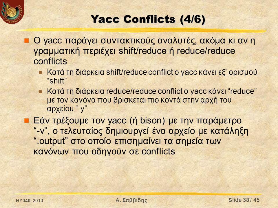 Yacc Conflicts (4/6) Ο yacc παράγει συντακτικούς αναλυτές, ακόμα κι αν η γραμματική περιέχει shift/reduce ή reduce/reduce conflicts.