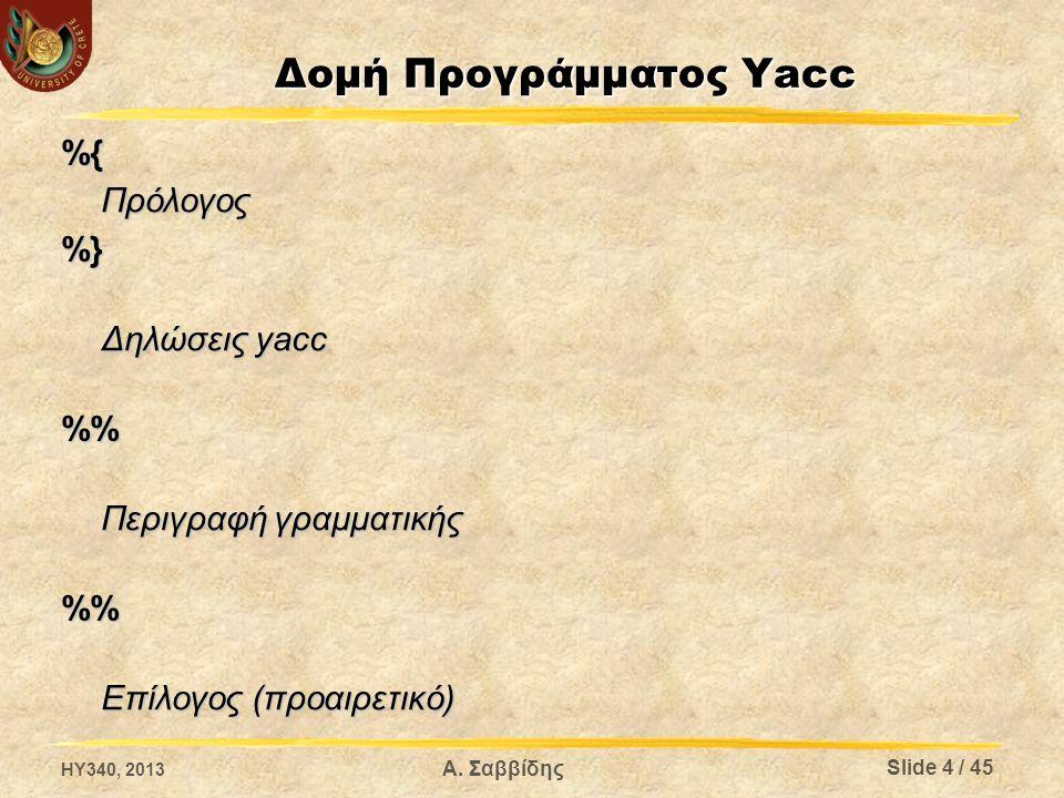 Δομή Προγράμματος Yacc