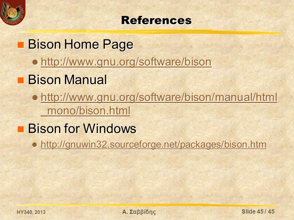Bison Home Page Bison Manual Bison for Windows References