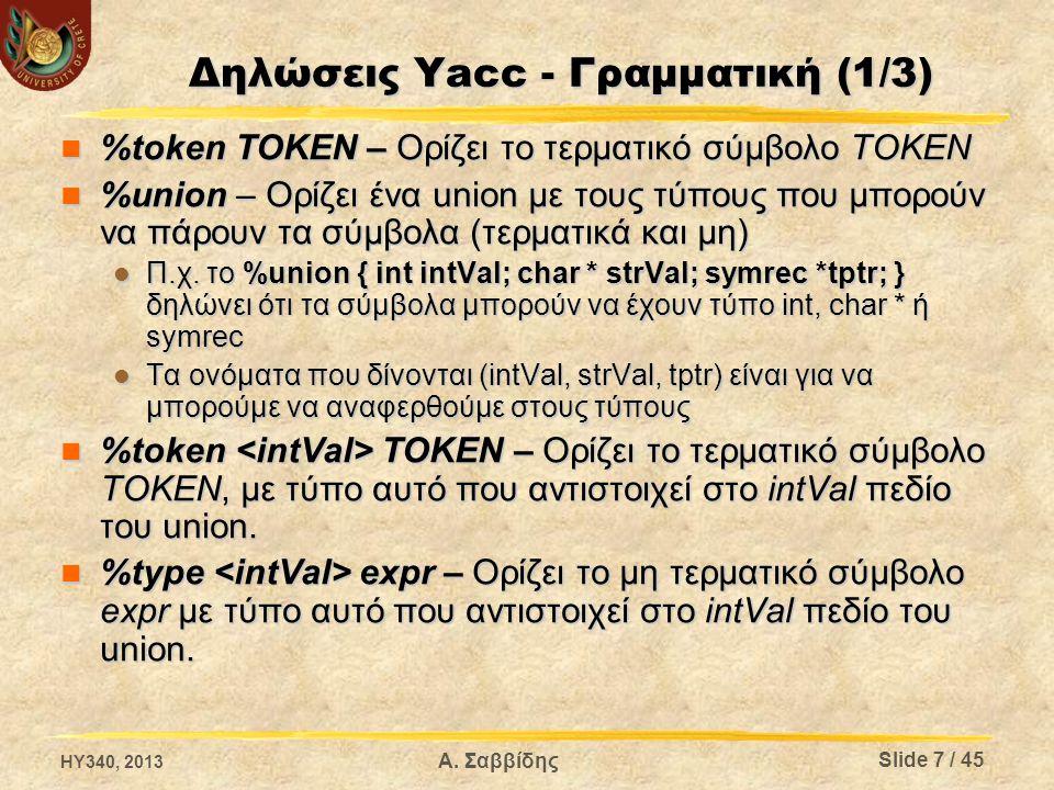 Δηλώσεις Yacc - Γραμματική (1/3)