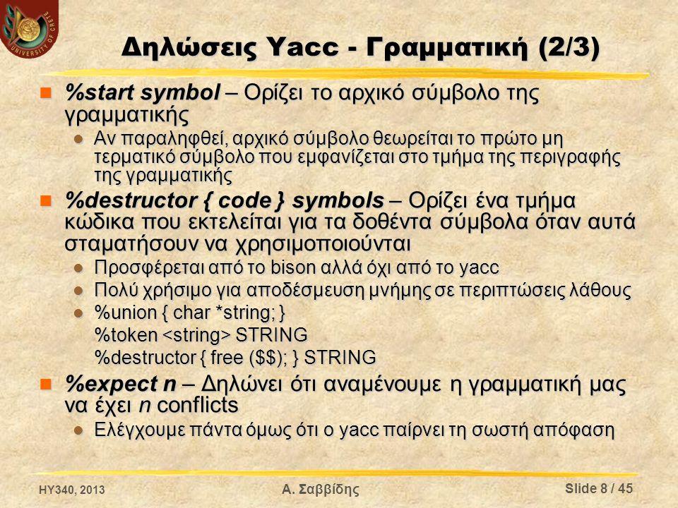 Δηλώσεις Yacc - Γραμματική (2/3)