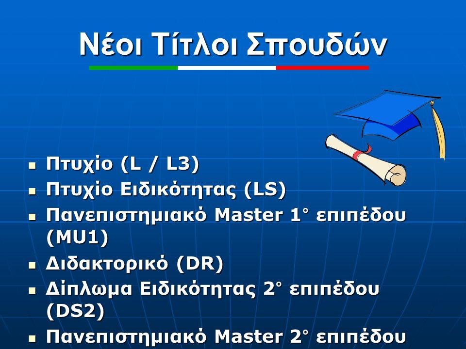 Νέοι Τίτλοι Σπουδών Πτυχίο (L / L3) Πτυχίο Ειδικότητας (LS)