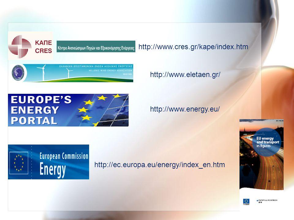http://www.cres.gr/kape/index.htm http://www.eletaen.gr/ http://www.energy.eu/ http://ec.europa.eu/energy/index_en.htm.