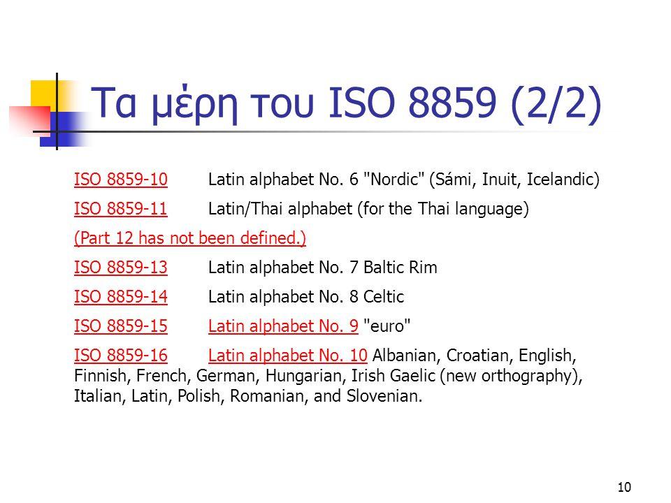 Τα μέρη του ISO 8859 (2/2) ISO 8859-10 Latin alphabet No. 6 Nordic (Sámi, Inuit, Icelandic)