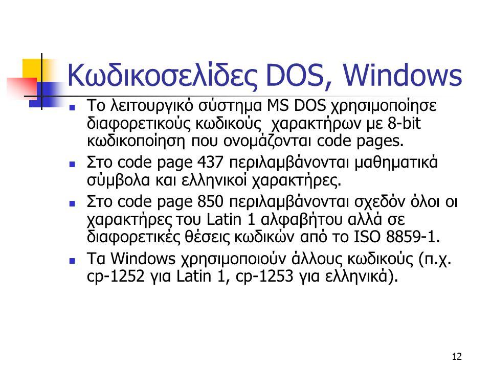 Κωδικοσελίδες DOS, Windows