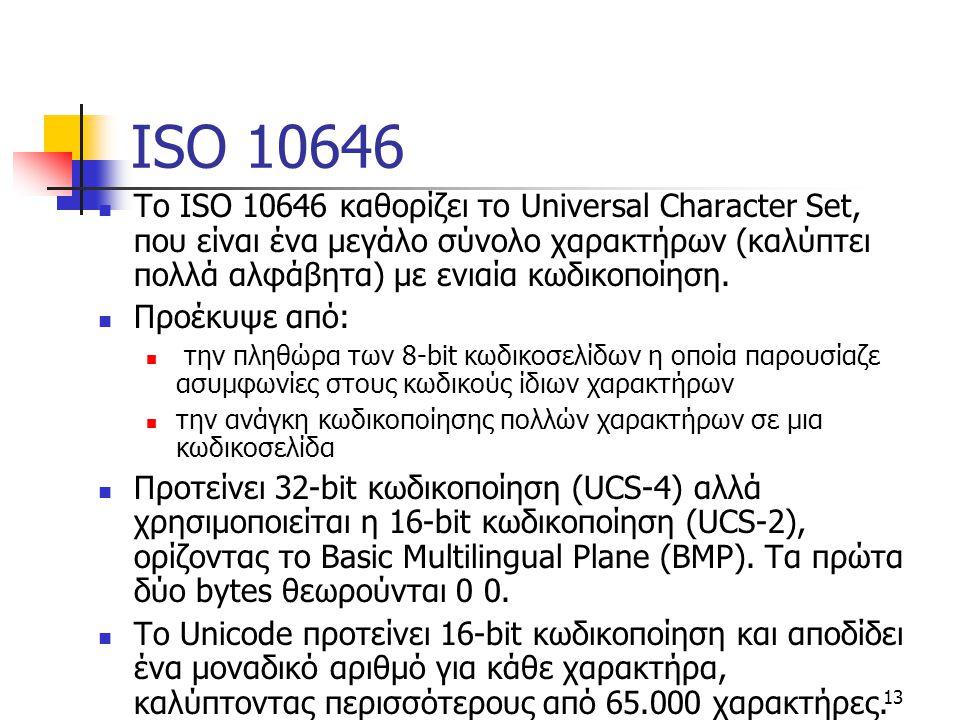 ISO 10646 Το ISO 10646 καθορίζει το Universal Character Set, που είναι ένα μεγάλο σύνολο χαρακτήρων (καλύπτει πολλά αλφάβητα) με ενιαία κωδικοποίηση.
