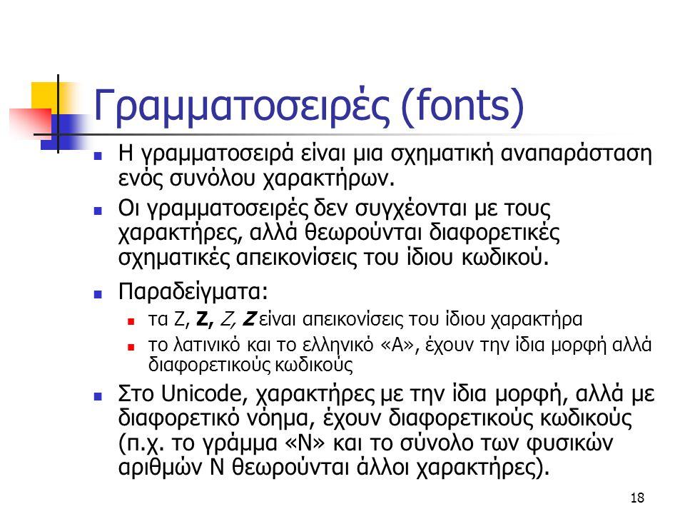 Γραμματοσειρές (fonts)