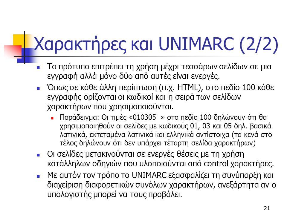 Χαρακτήρες και UNIMARC (2/2)