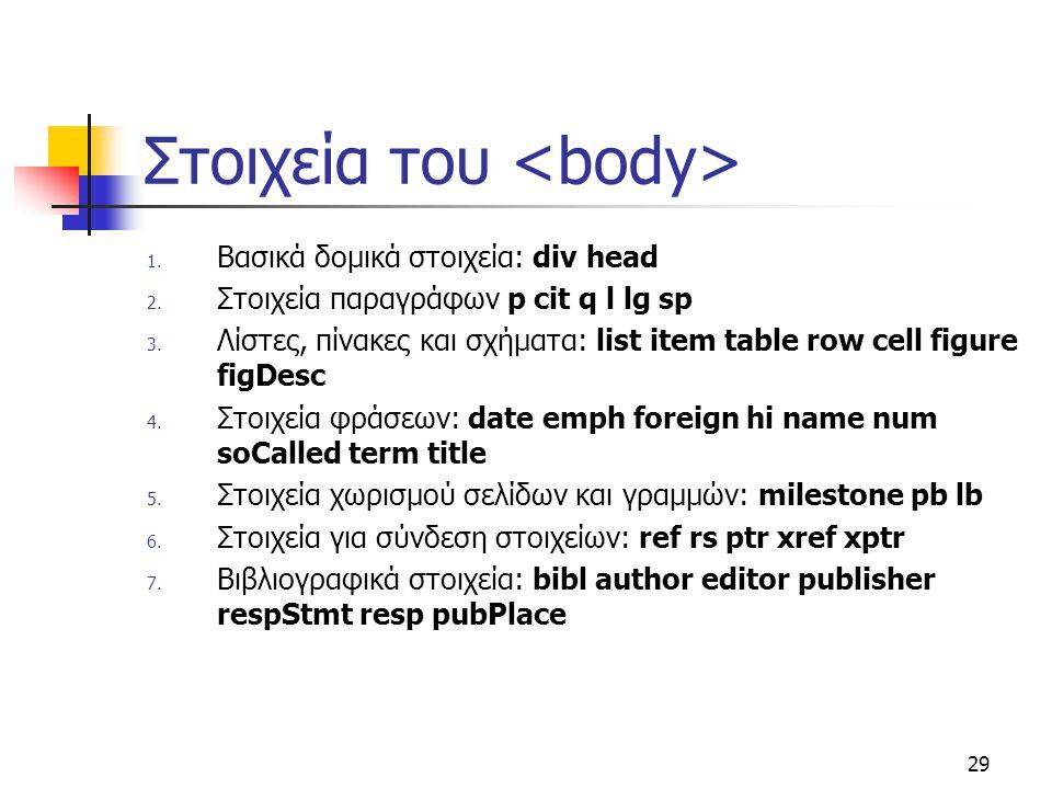 Στοιχεία του <body>