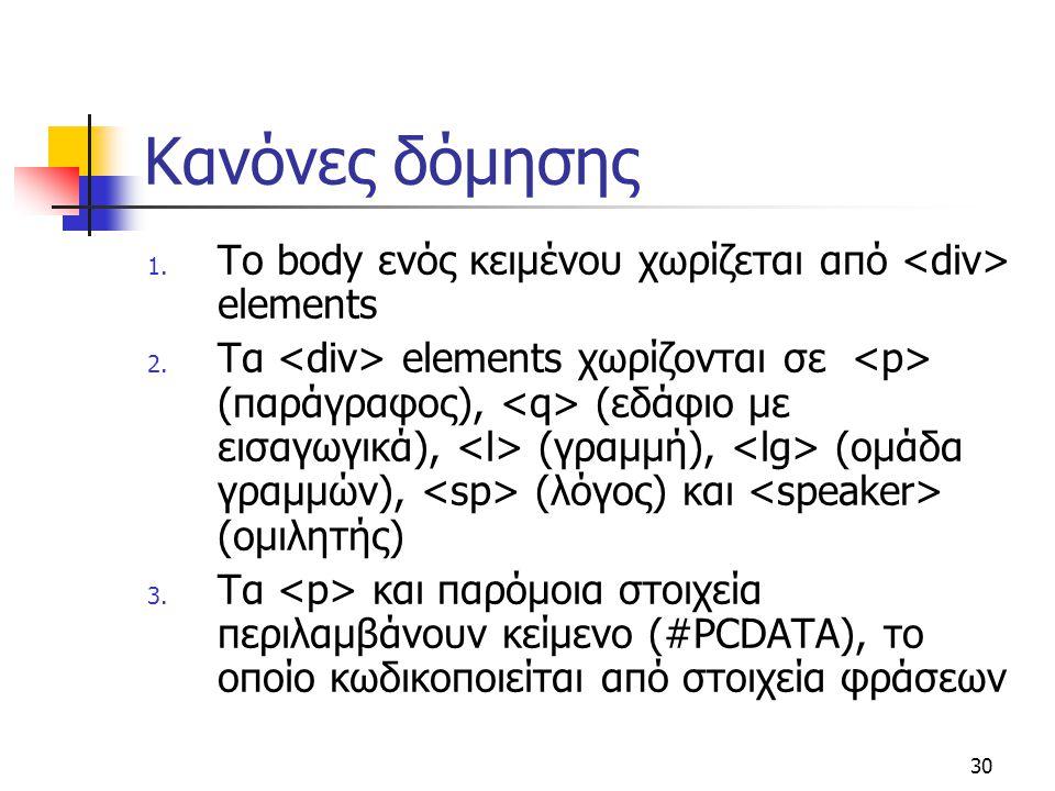 Κανόνες δόμησης Το body ενός κειμένου χωρίζεται από <div> elements.