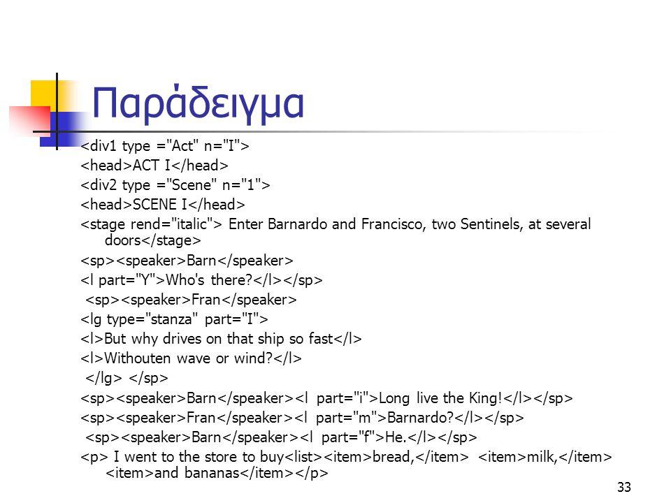 Παράδειγμα <div1 type = Act n= I >