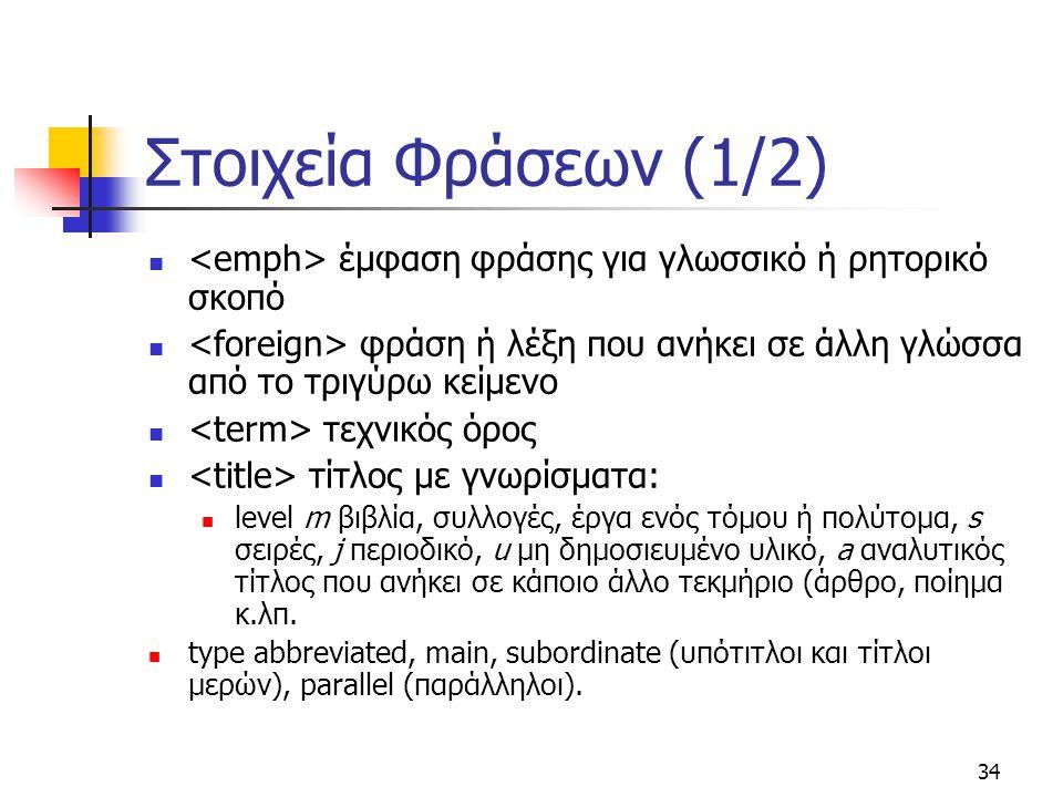 Στοιχεία Φράσεων (1/2) <emph> έμφαση φράσης για γλωσσικό ή ρητορικό σκοπό. <foreign> φράση ή λέξη που ανήκει σε άλλη γλώσσα από το τριγύρω κείμενο.