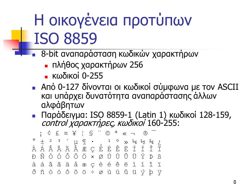 Η οικογένεια προτύπων ISO 8859