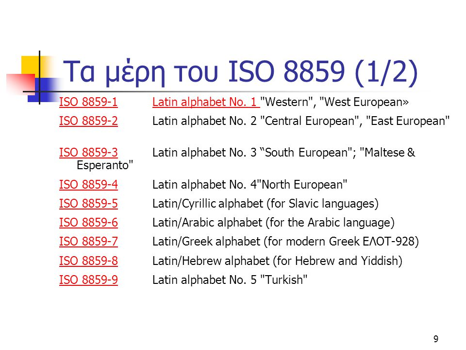 Τα μέρη του ISO 8859 (1/2) ISO 8859-1 Latin alphabet No. 1 Western , West European»