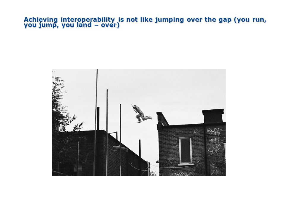 4/5/2017 Achieving interoperability is not like jumping over the gap (you run, you jump, you land – over)
