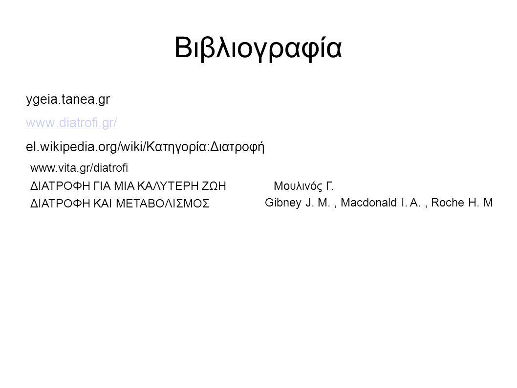 Βιβλιογραφία ygeia.tanea.gr www.diatrofi.gr/