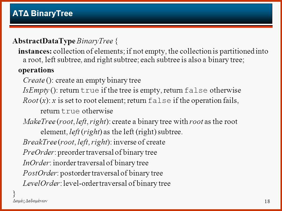 AbstractDataType BinaryTree {