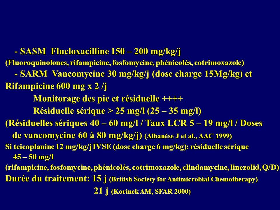 - SASM Flucloxacilline 150 – 200 mg/kg/j