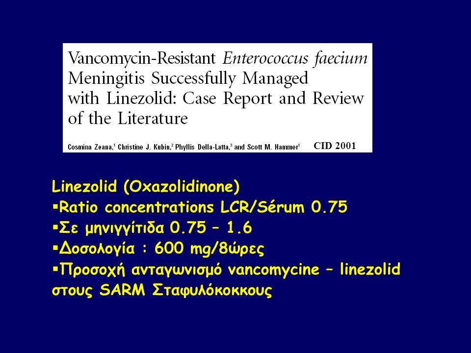 Linezolid (Oxazolidinone) Ratio concentrations LCR/Sérum 0.75