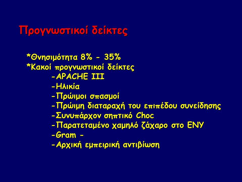 Προγνωστικοί δείκτες *Θνησιμότητα 8% - 35% *Κακοί προγνωστικοί δείκτες