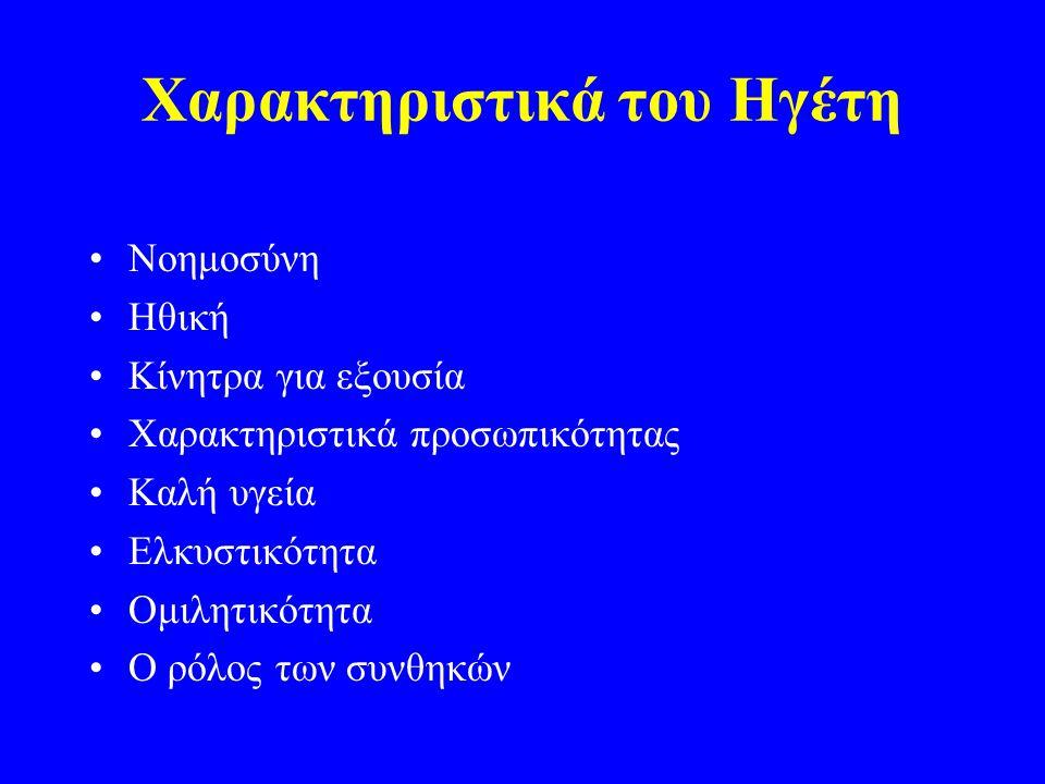 Χαρακτηριστικά του Ηγέτη