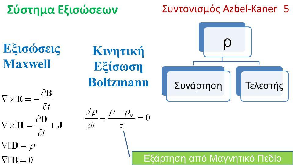 ρ Σύστημα Εξισώσεων Εξισώσεις Maxwell Κινητική Εξίσωση Boltzmann