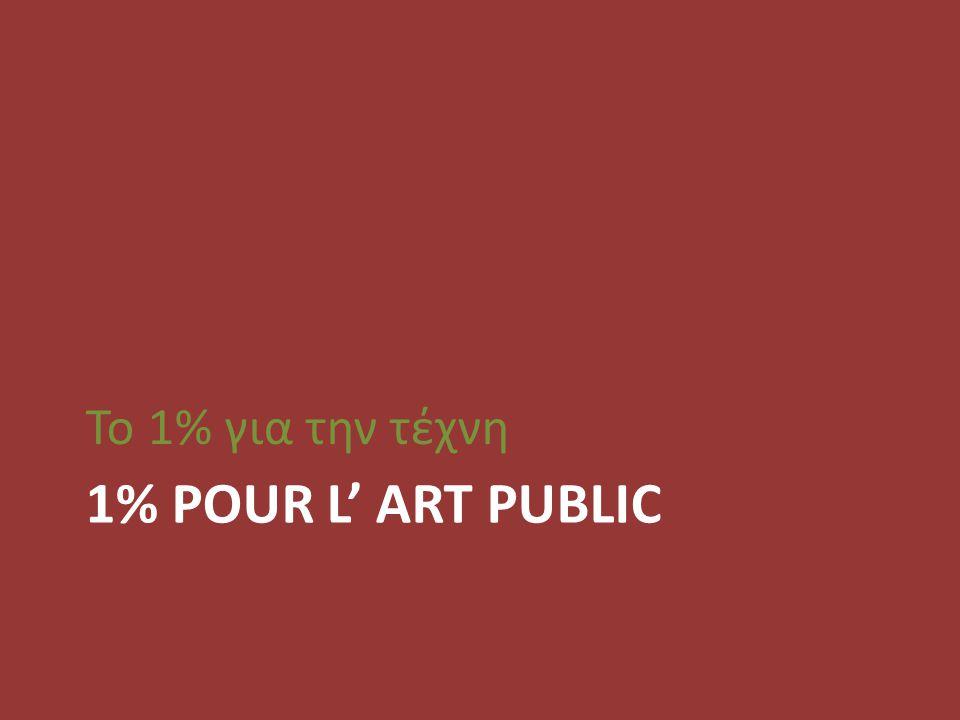 Το 1% για την τέχνη 1% POUR L' ART PUBLIC