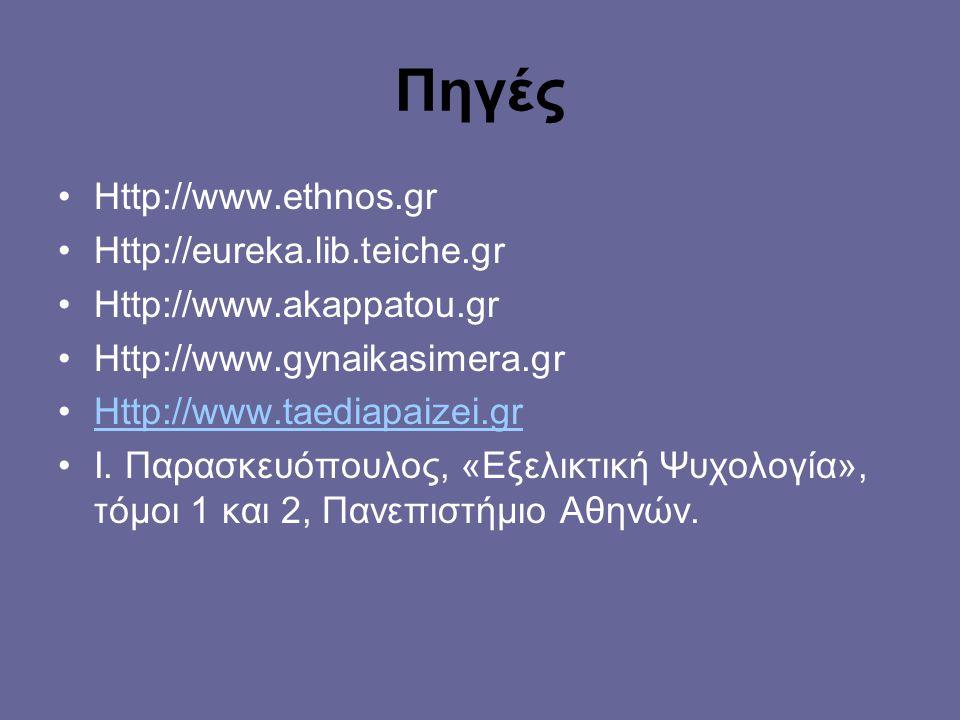 Πηγές Http://www.ethnos.gr Http://eureka.lib.teiche.gr