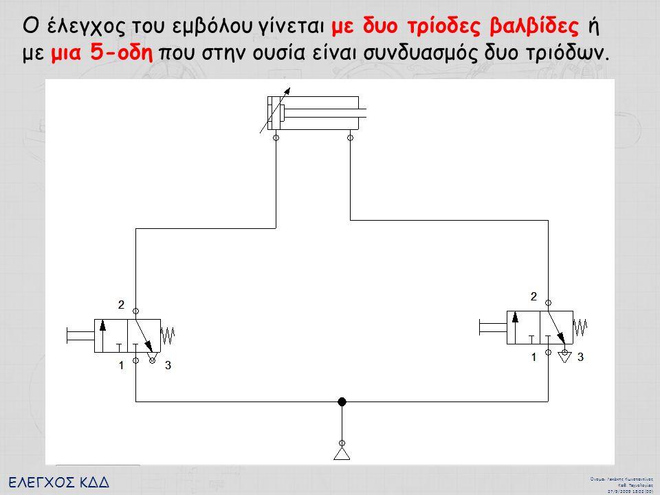 Ο έλεγχος του εμβόλου γίνεται με δυο τρίοδες βαλβίδες ή με μια 5-οδη που στην ουσία είναι συνδυασμός δυο τριόδων.