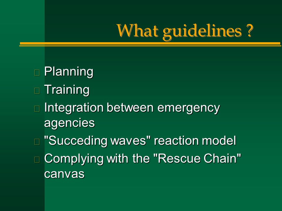 What guidelines Planning Training