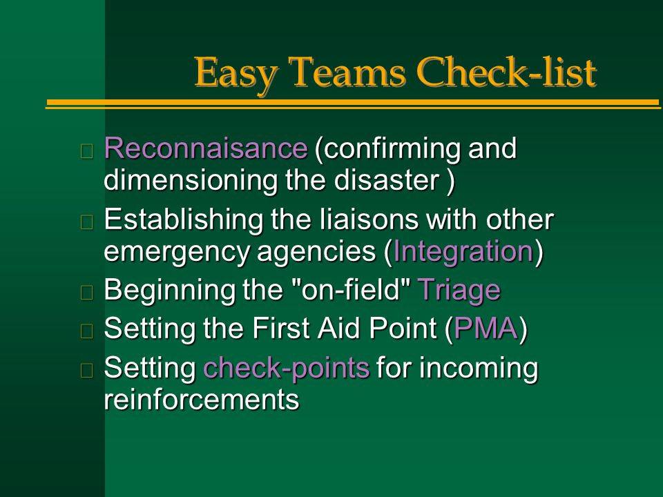 Easy Teams Check-list Reconnaisance (confirming and dimensioning the disaster )