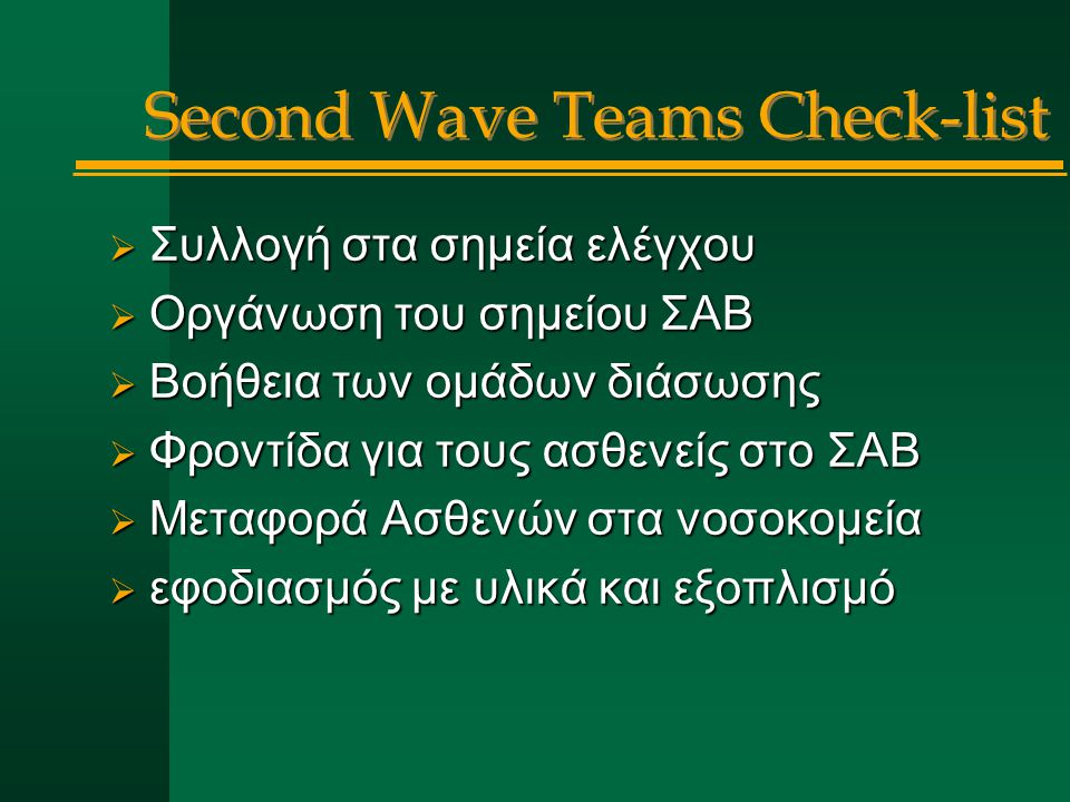 Second Wave Teams Check-list