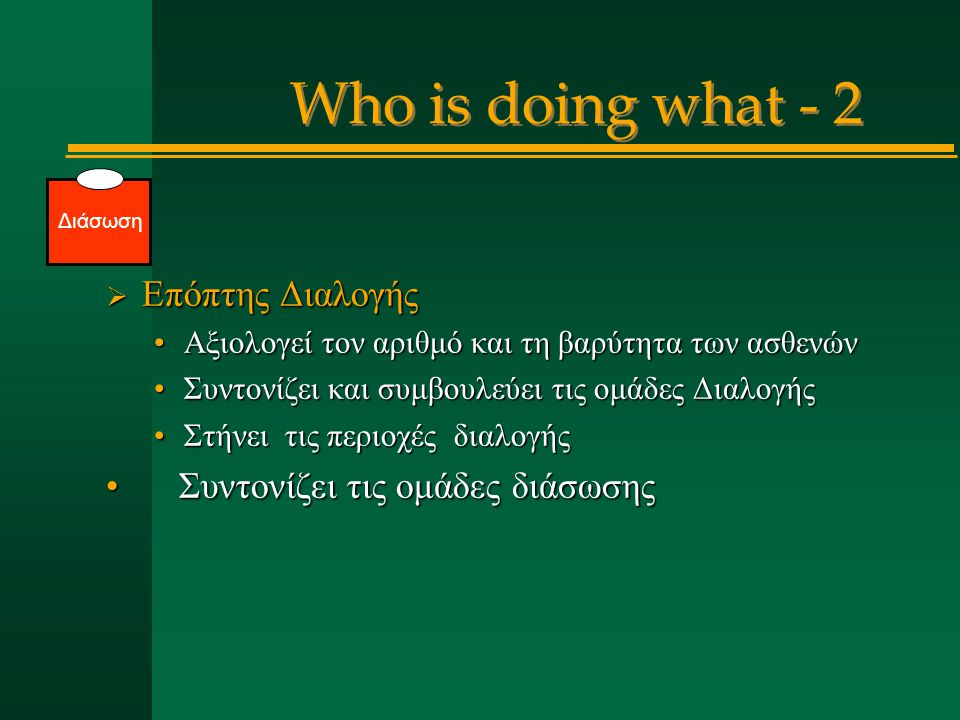 Who is doing what - 2 Επόπτης Διαλογής Συντονίζει τις ομάδες διάσωσης