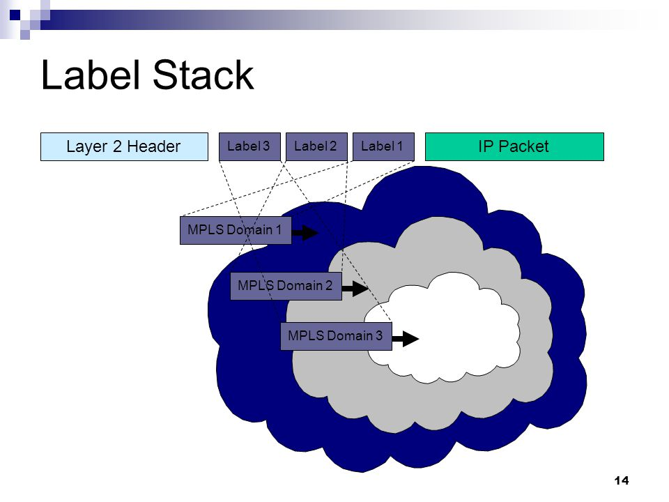 Label Stack Layer 2 Header IP Packet Label 3 Label 2 Label 1