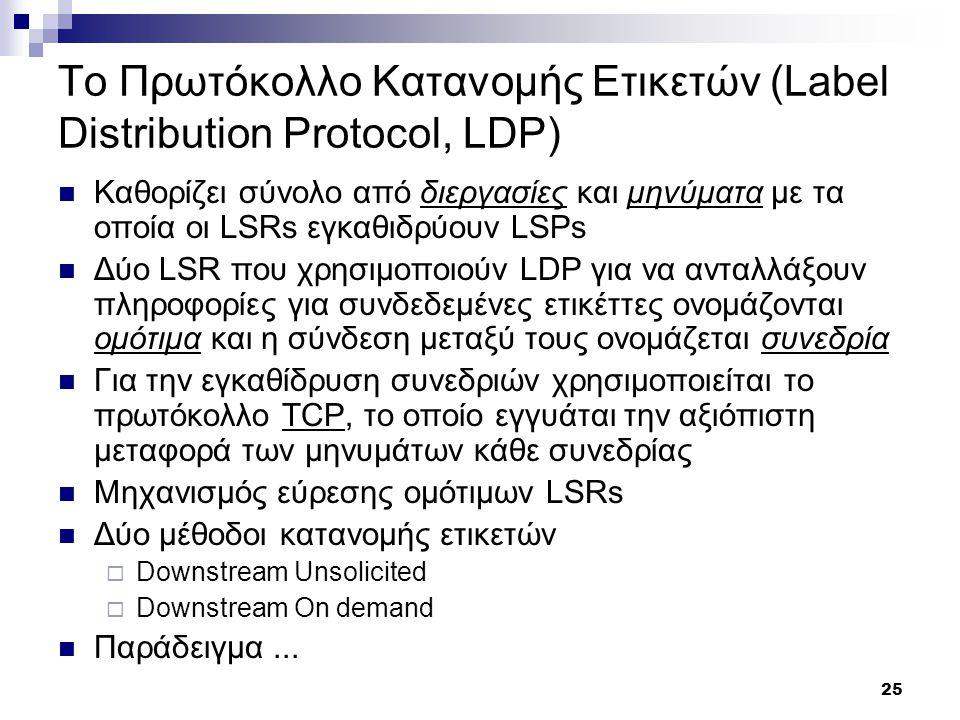 Το Πρωτόκολλο Κατανομής Eτικετών (Label Distribution Protocol, LDP)