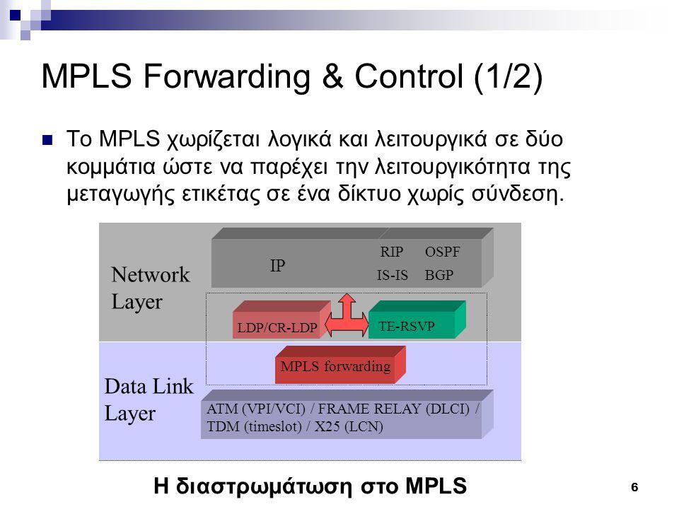 MPLS Forwarding & Control (1/2)
