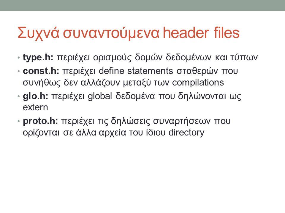 Συχνά συναντούμενα header files