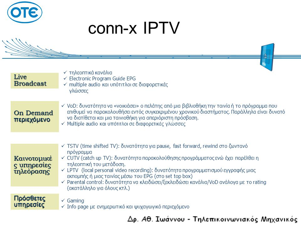 conn-x IPTV Live Broadcast On Demand περιεχόμενο