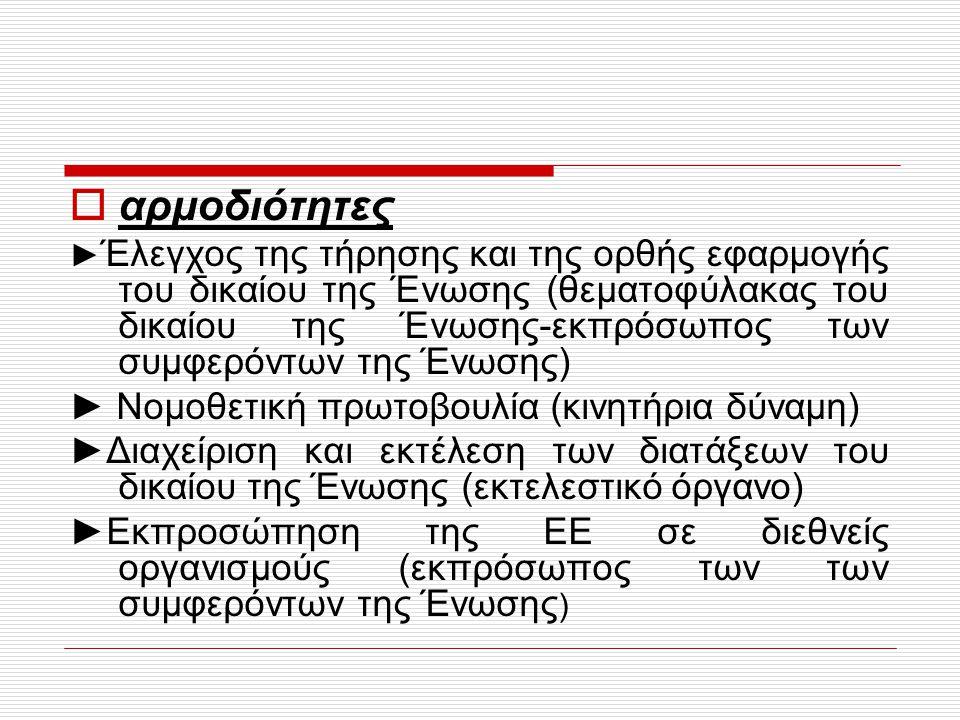 αρμοδιότητες ► Νομοθετική πρωτοβουλία (κινητήρια δύναμη)