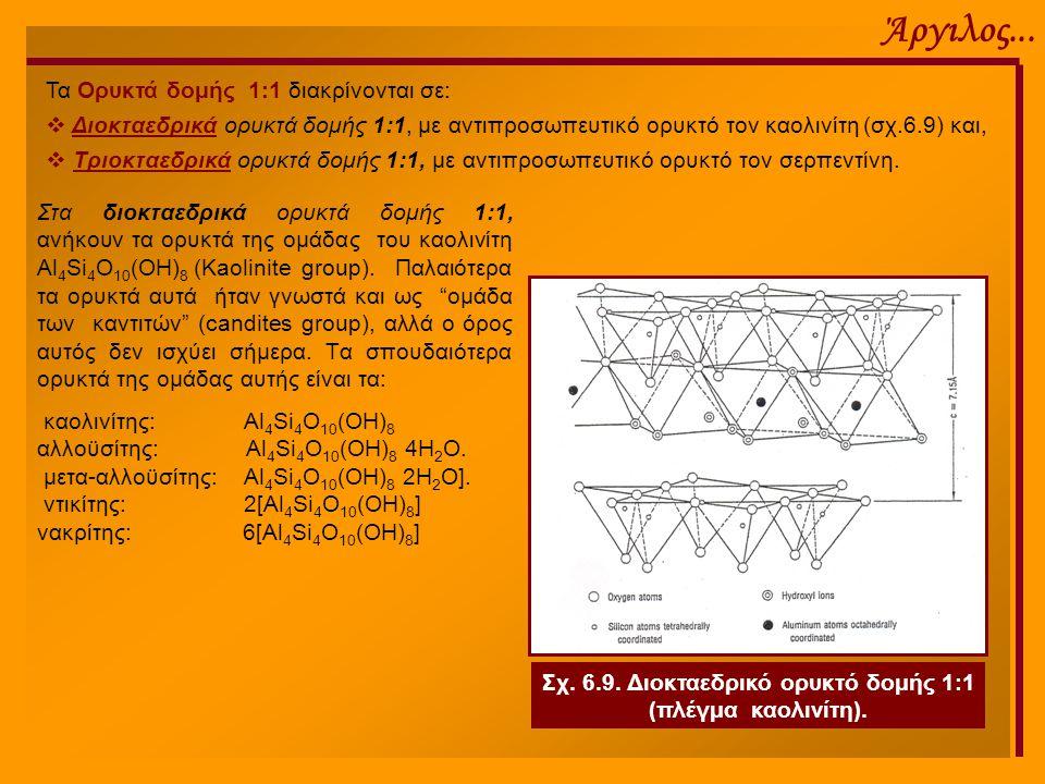 Σχ. 6.9. Διοκταεδρικό ορυκτό δομής 1:1 (πλέγμα καολινίτη).