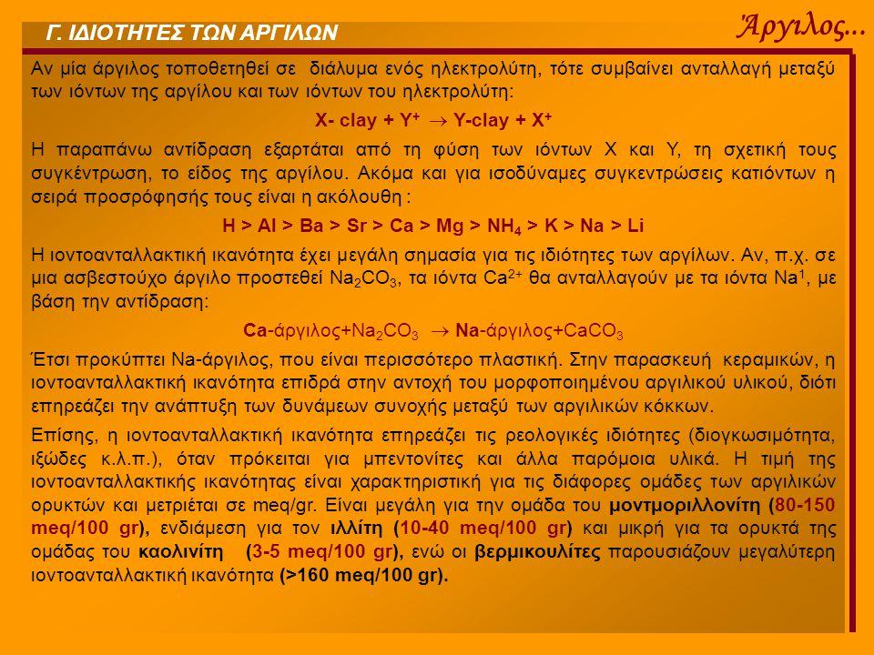 Ca-άργιλος+Na2CO3  Na-άργιλος+CaCO3