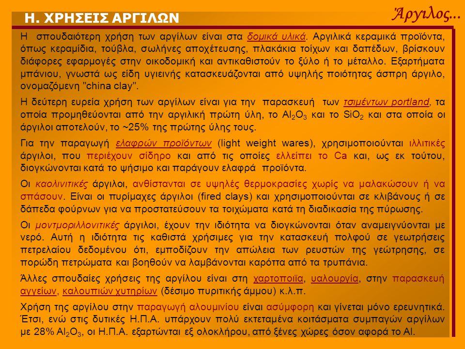 Άργιλος... Η. ΧΡΗΣΕΙΣ ΑΡΓΙΛΩΝ