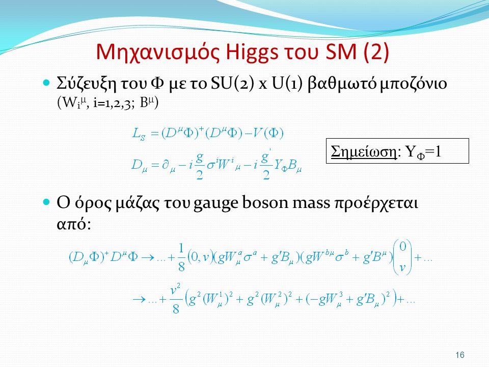 Μηχανισμός Higgs του SM (2)