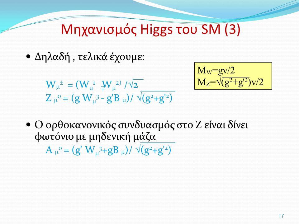 Μηχανισμός Higgs του SM (3)