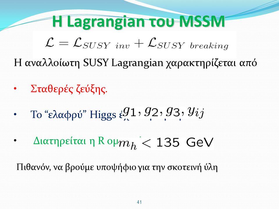 Η Lagrangian του MSSM Η αναλλοίωτη SUSY Lagrangian χαρακτηρίζεται από