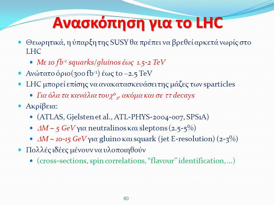 Ανασκόπηση για το LHC Θεωρητικά, η ύπαρξη της SUSY θα πρέπει να βρεθεί αρκετά νωρίς στο LHC. Με 10 fb-1 squarks/gluinos έως 1.5-2 TeV.
