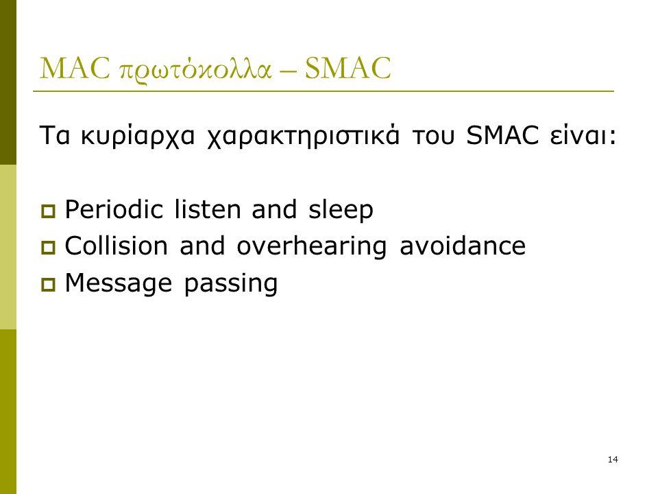 MAC πρωτόκολλα – SMAC Τα κυρίαρχα χαρακτηριστικά του SMAC είναι: